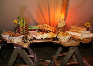 Bread and cheese on bespoke oak table